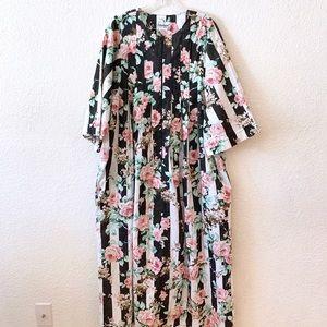 Vintage Stripe Floral Print MuuMuu Dress Nightgown